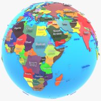 3D geopolitical earth globe states