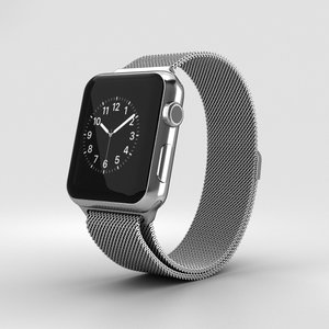 3D apple watch stainless