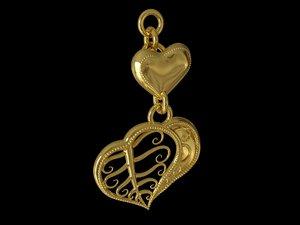 heart leaf pendant keychain 3D