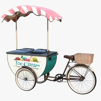 realistic icecream cart real 3D