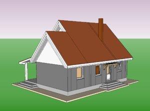 3D detached house model