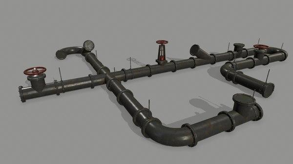 3D model clamp pipe set