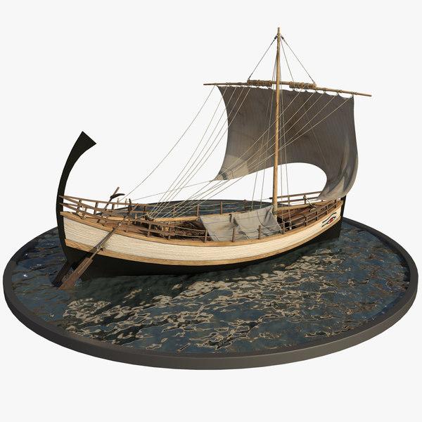 3D antic merchant ship greek