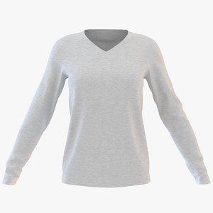 womens v neck sweatshirt model