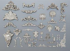 3D classic baroque ornaments model