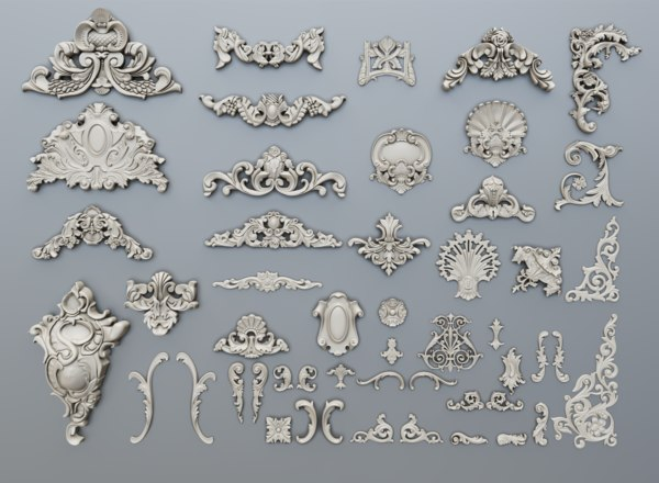 3D classic baroque ornaments model