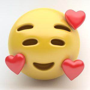 emoji smiling hearts 3D model