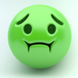 3D model emoji sick