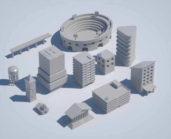 minimal city building pack 3D model