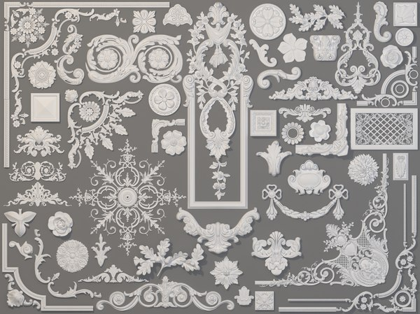 58 piece carved elements model