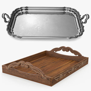 3D trays wooden serving