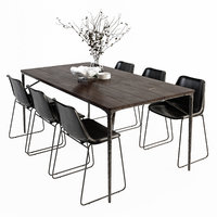 3D dining table chairs set