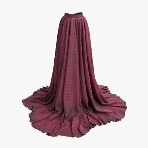 3D skirt red classic model
