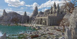 3D castle fantasy landscape model
