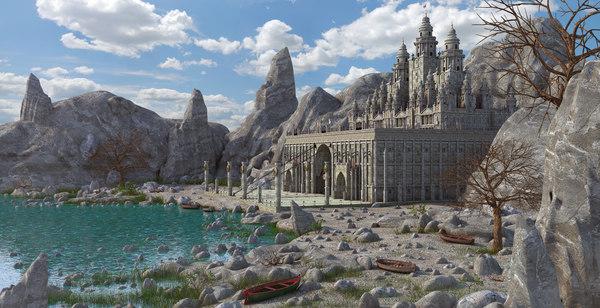 3d Castle Fantasy Landscape Model Turbosquid 1331302