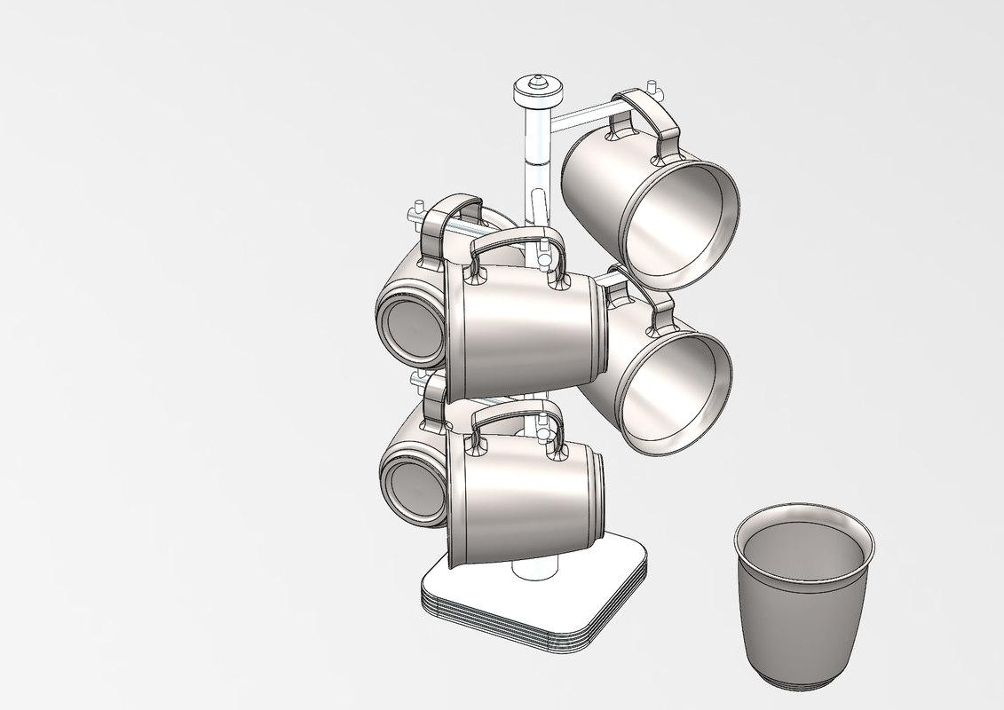 3D model coffee mug tree