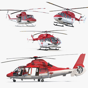 3D rigged air ambulance helicopters