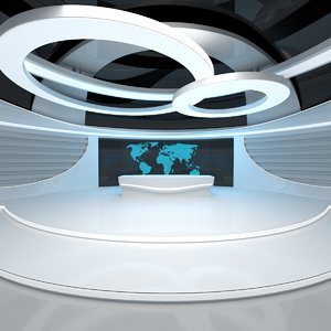 sci-fi futuristic news studio 3D model