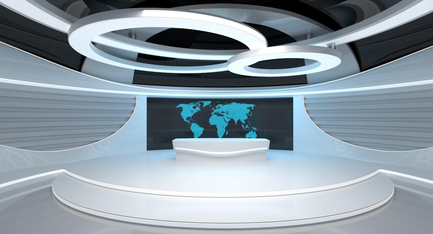 sci-fi futuristic news studio 3D model