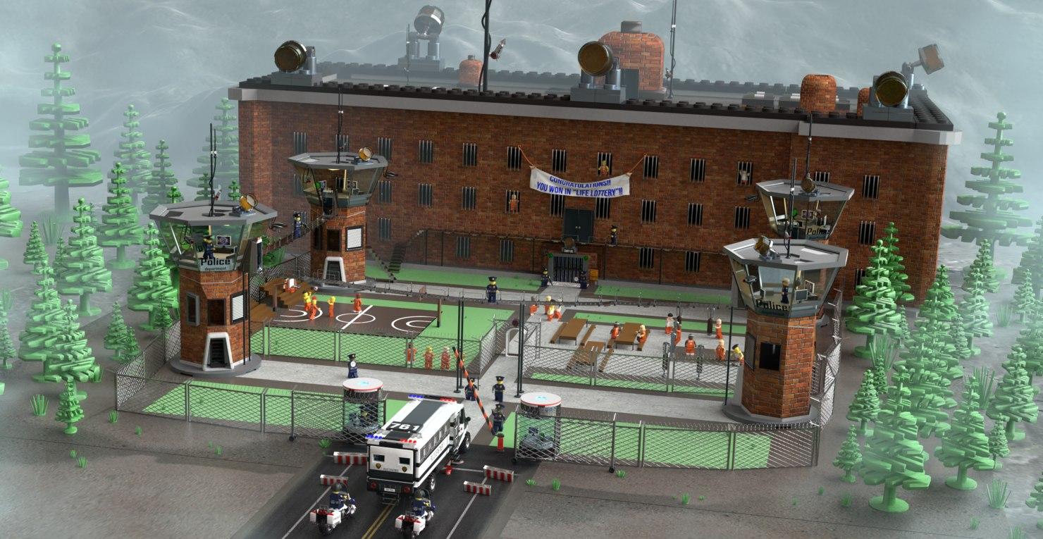 lego big scene prisoners 3D model