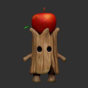 3D apple tree character games model