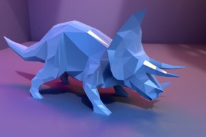 3D low-poly triceratops animations