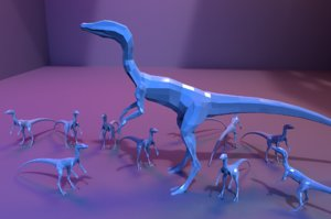 low-poly compsognathus compy animations model