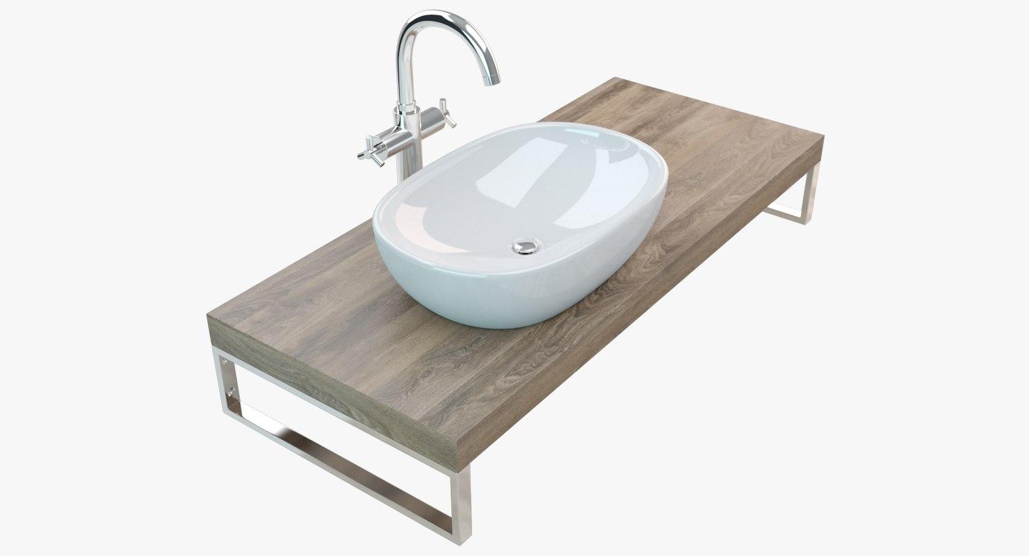 3D bathroom washbasin plate model