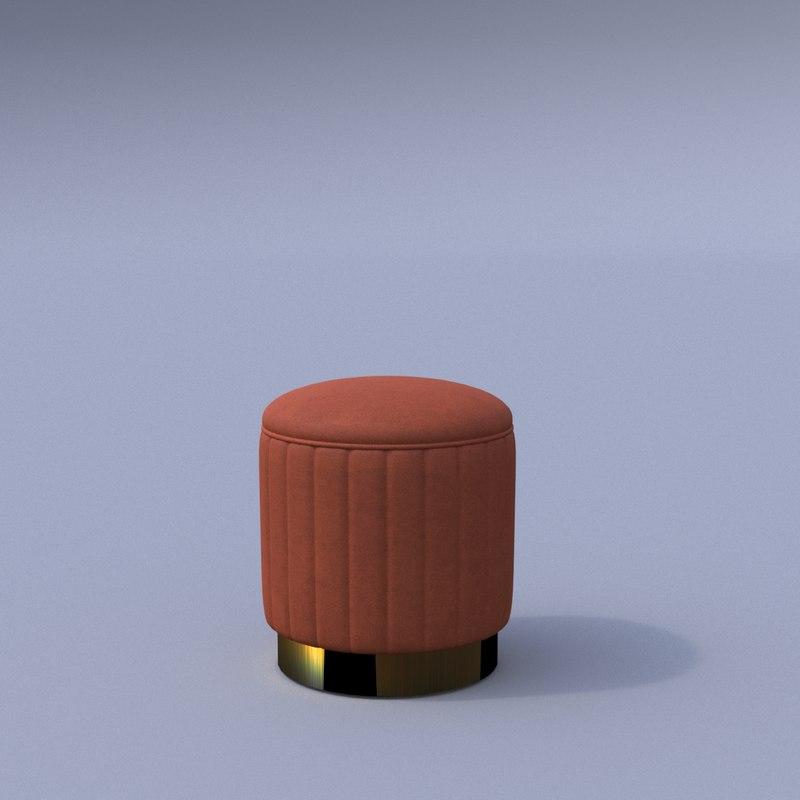 eichholtz allegra stool corona 3D model