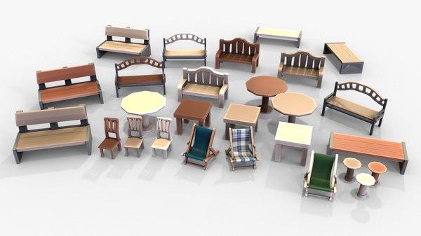 outdoor furniture pack cartoon 3D model