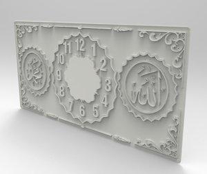 3D relief interior clock