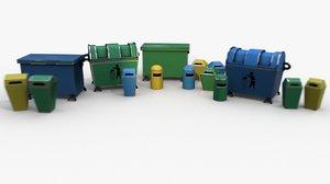 3D rubbish pack cartoon