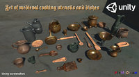 medieval cooking utensils and dishes
