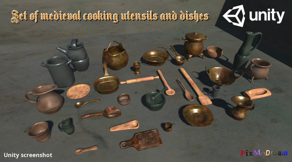 3D medieval cooking utensils dishes