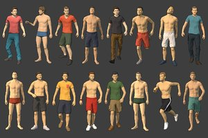 rigged male characters model