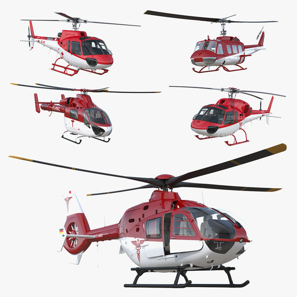 rigged air ambulance helicopters model
