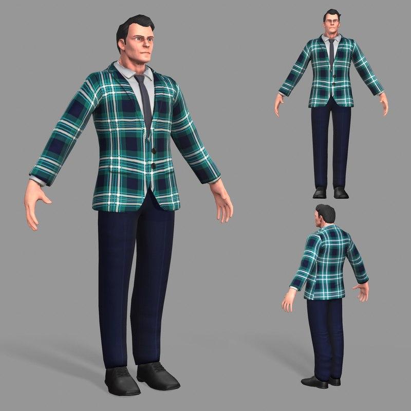 3D business suit man