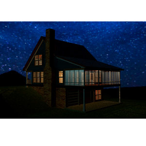 3D mountain house cabin model