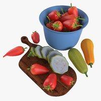 3D model tomatoes cut board