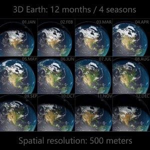 earth - 4 seasons 3D model