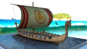 viking drakkars 3D model