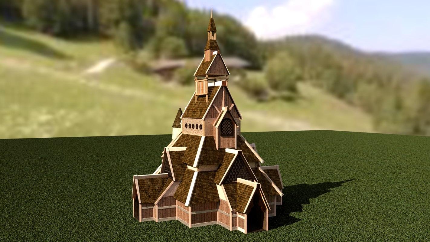 3D viking church houses model
