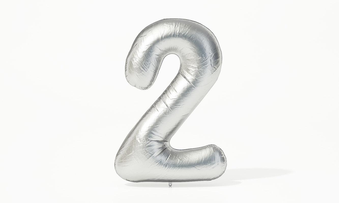 3D model foil balloon digit -
