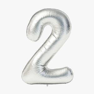 3D model foil balloon digit -