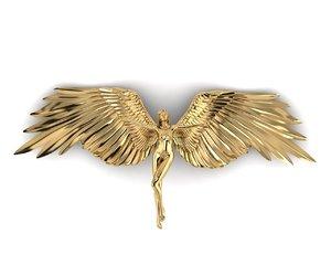 angel women golden 3D model