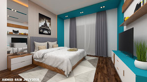 modern bedroom interior scene 3D model