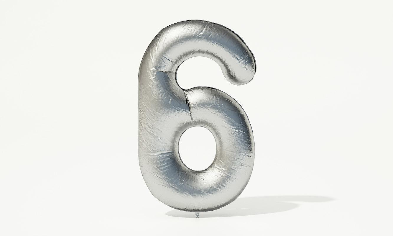 foil balloon digit - 3D model