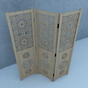 moroccan wood screens traditional 3D model