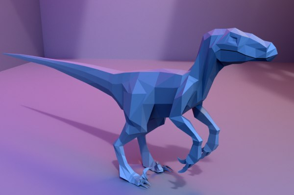 3D model low-poly velociraptor animations