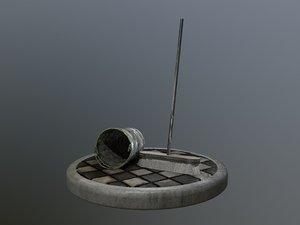 broom brush bucket pack 3D model